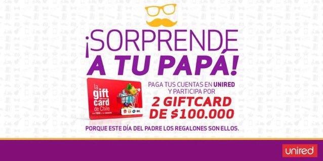 #concurso #unired 🎉 Celebra a #papá como quieras! 🎉 un asadito? almuerzo? torta? Con este #premio tú elige la celebración 🍔🍖🎂🎈 #Participa hasta el 11/06. Sorteo 13/06. Bases en https://t.co/w8wjsyey4t.  También puedes comprar La #giftcard de Chile en cualquier #Unimarc https://t.co/TRE6yOdzsr