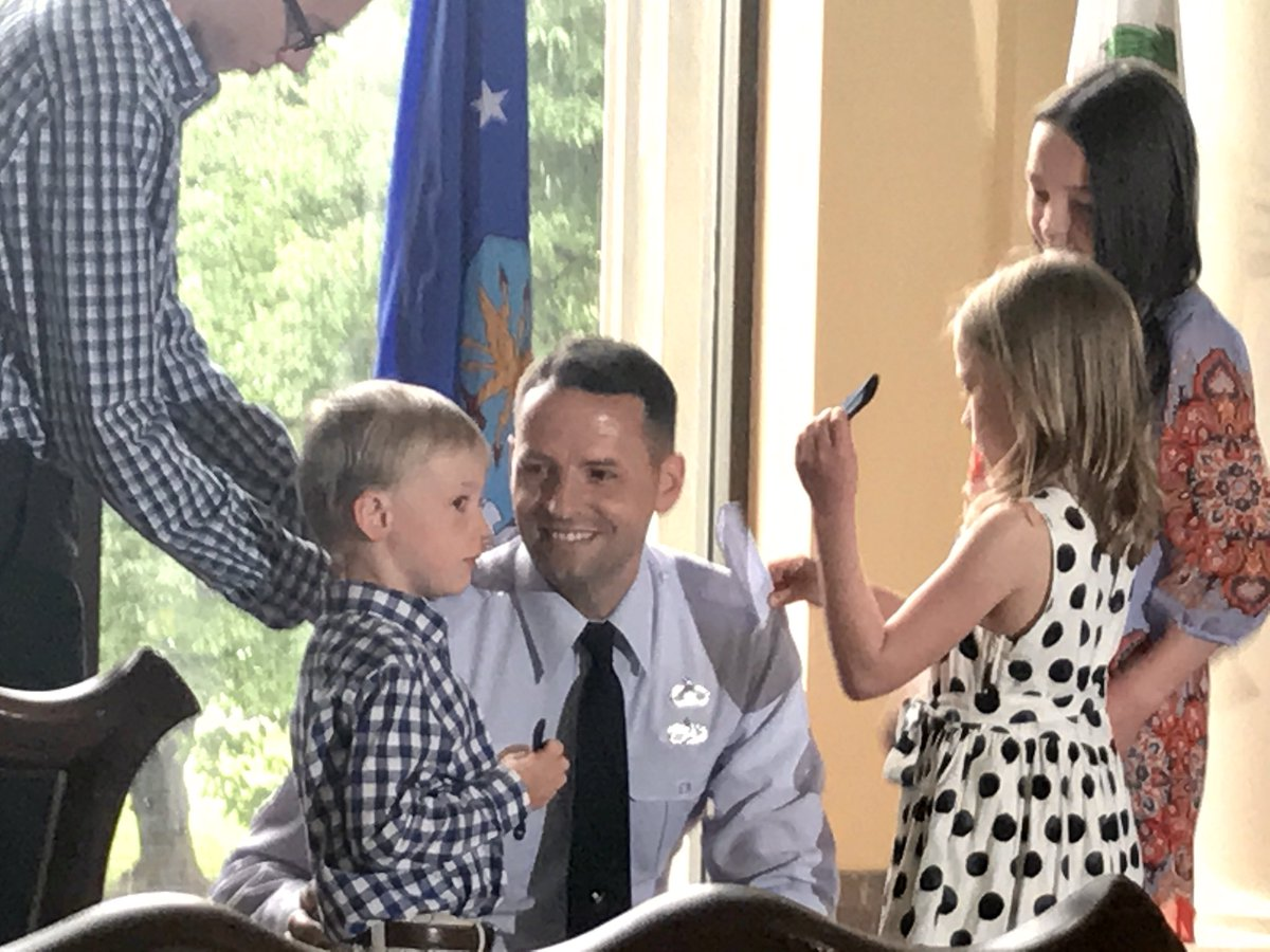 Celebrated the promotion of @usairforce Colonel Gregg Jerome this morning. Honored to have spent a year at the National War College with leaders like him — incredibly smart, quick with a smile, and always a model public servant (and Dad!). @NWC_NDU