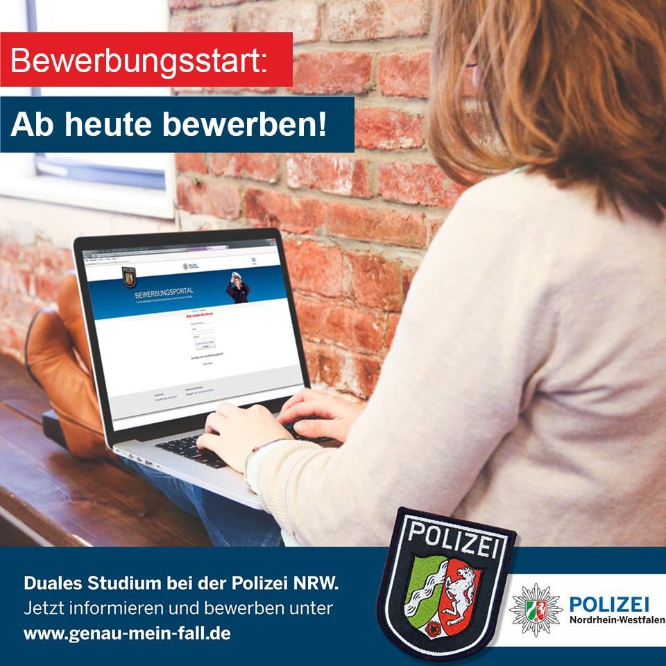 bewerbungsstart fr den gehobenen polizeivollzugsdienst der polizei nrw ab heutekann man sich wieder auf einen der 2300 studienpltze zur - Polizei Bewerbung Nrw