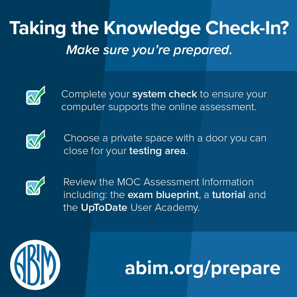 Abim On Twitter Knowledge Check Ins In Internal Medicine And