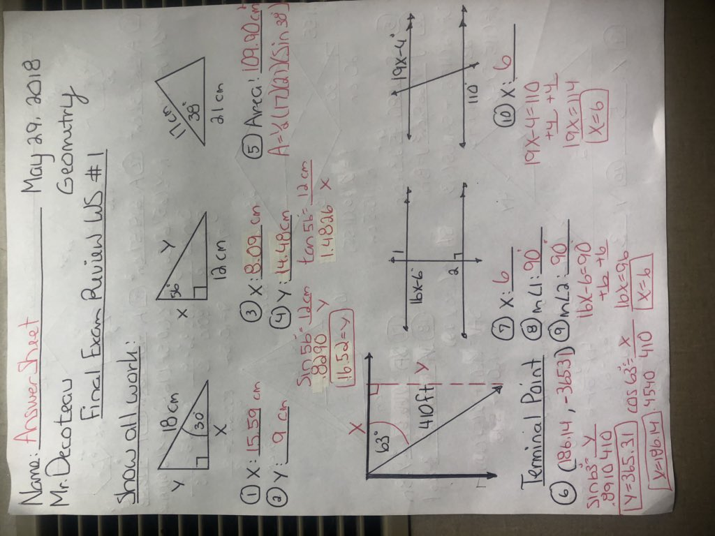 Mr Decoteau On Twitter Answer Sheet The Final Exam Review
