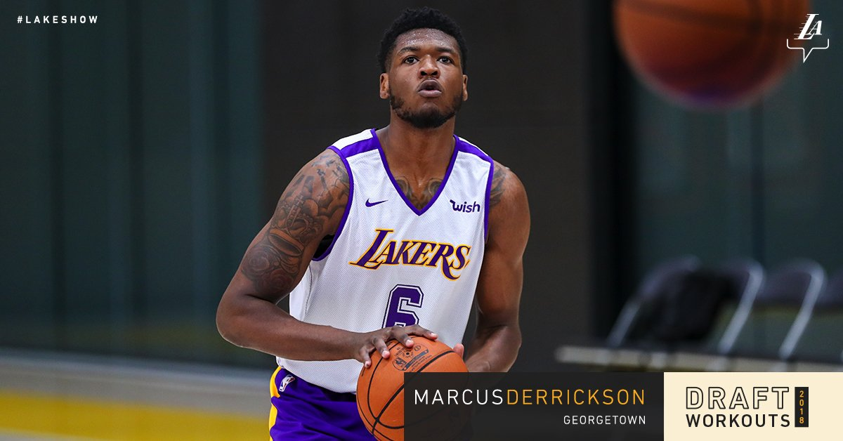 Working out for the #LakeShow today, @GeorgetownHoops' Marcus Derrickson https://t.co/osTKJhHR8T