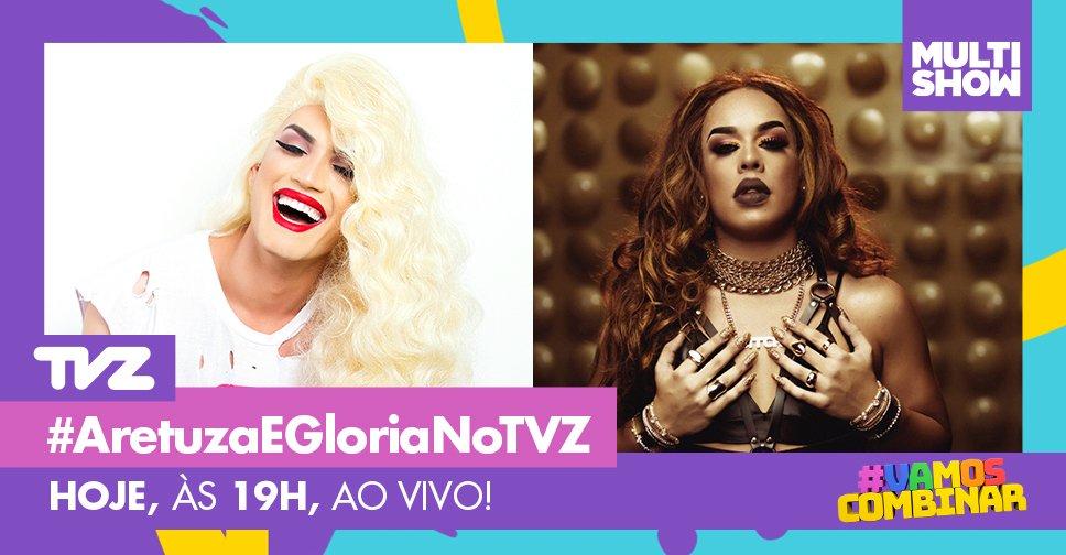 Hoje tem TVZ AO VIVO com Aretuza Lovi e Gloria Groove embaladas pela Parada Orgulho LGBT. A dupla vai mostrar que na hora H o importante é não se descuidar! E #VamosCombinar? Use sempre camisinha!: https://t.co/c6uiBQ2Aec
