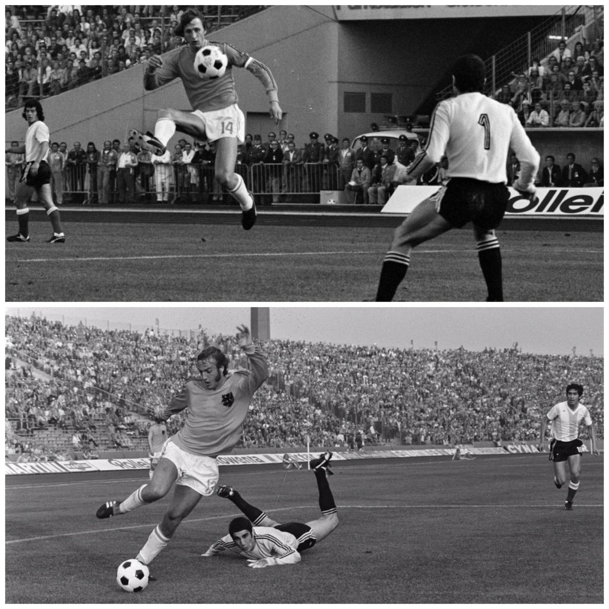 Johan 1 (Cruijff) and Johan 2 (Neeskens) for Holland vs Argentina. #johan #cruyff #neeskens #holland74 #oranje74 #holland #oranje #nederland #netherlands #itaned #fifa #worldcup #football #futbol #voetbal #argentina #albiceleste #mundial #wm74 https://t.co/M7FybSix4h