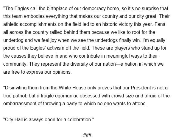 .@PhillyMayor releases statement after @realDonaldTrump cancels @Eagles visit to the White House https://t.co/4RLEOZTCjR