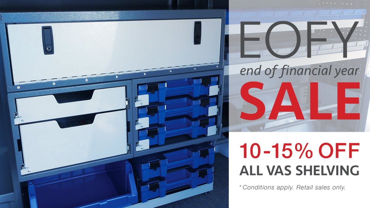 Hurry offer is while stocks last!  Don't hesitate, call now on (02) 9631 0555 or email our sales team today at sales@vanracking.com.au!  Happy EOFY!  #EOFY #Vanshelving #Vanracking #Sales #CommercialVehicle #Van #UTE #VAS #VehicleStorage #VehicleStorageSolutions