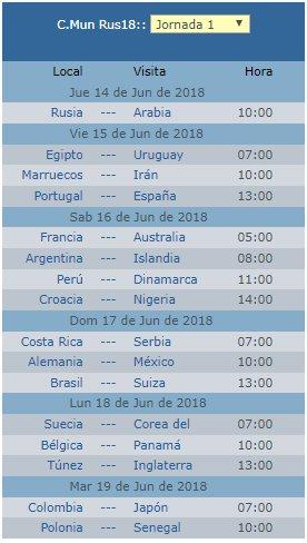 Calendario Mundial Rusia 2018 horarios de México