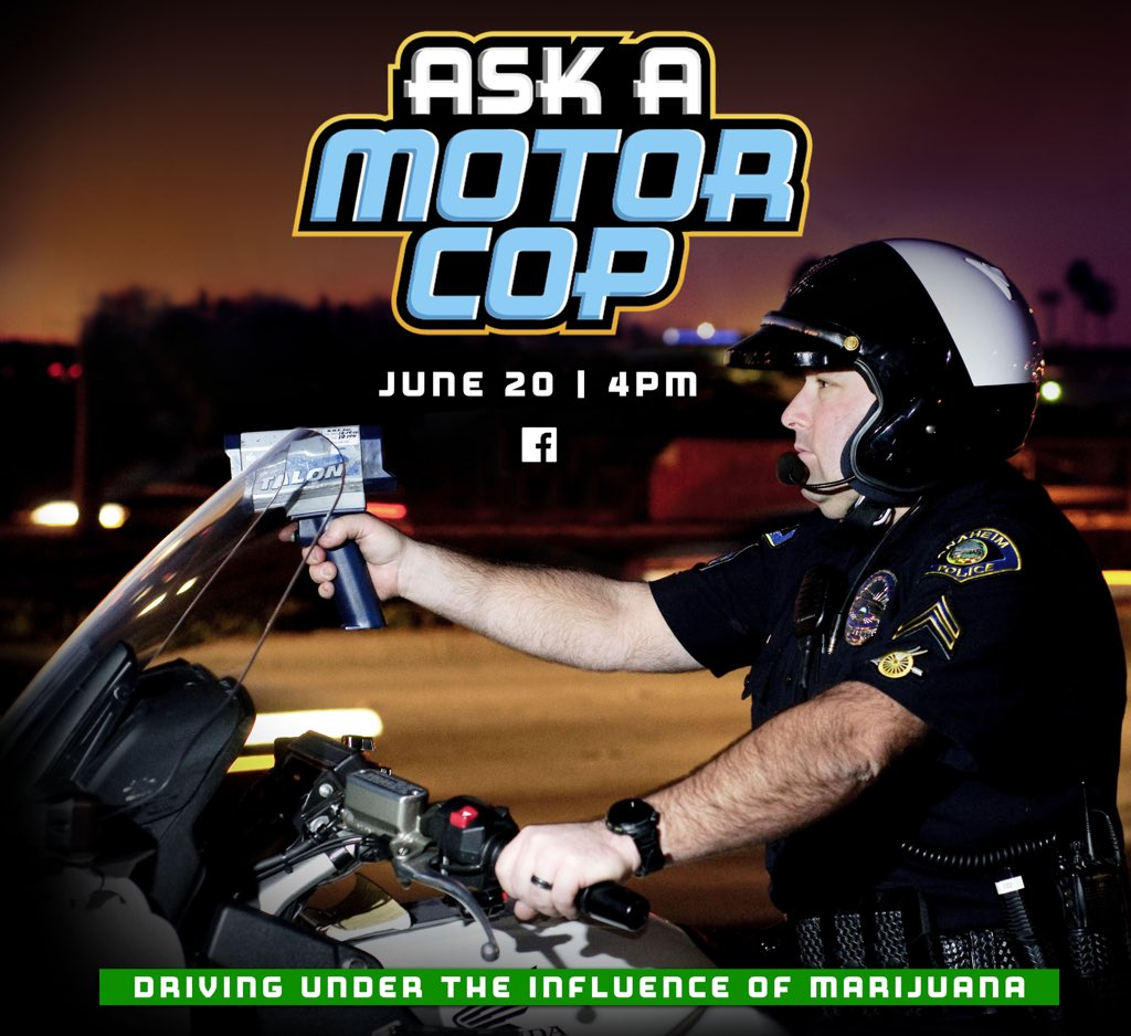 In 2016, California voters approved #Prop64. But how does this affect drivers &amp; #TrafficSafety? Post your questions NOW &amp; catch Officer Spielman (&amp; a special guest) answer your #marijuana DUI questions on FB live - 6/20 at 4PM!  #AskAMotorCop #trafficlaws #DUI #anaheimpd<br>http://pic.twitter.com/nMCozHagpa