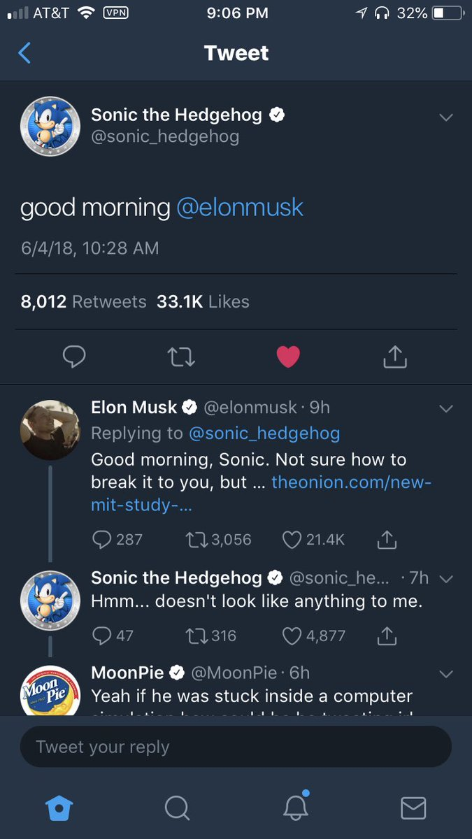 only on twitter: a casual conversation between Sonic the Hedgehog, Elon Musk, and Moonpie i love this place