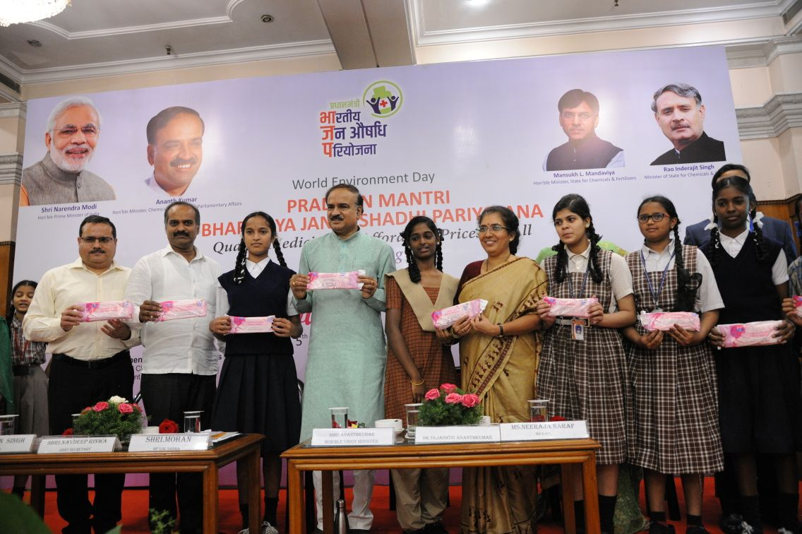 Minister launches India's first oxo-biodegradable sanitary napkin