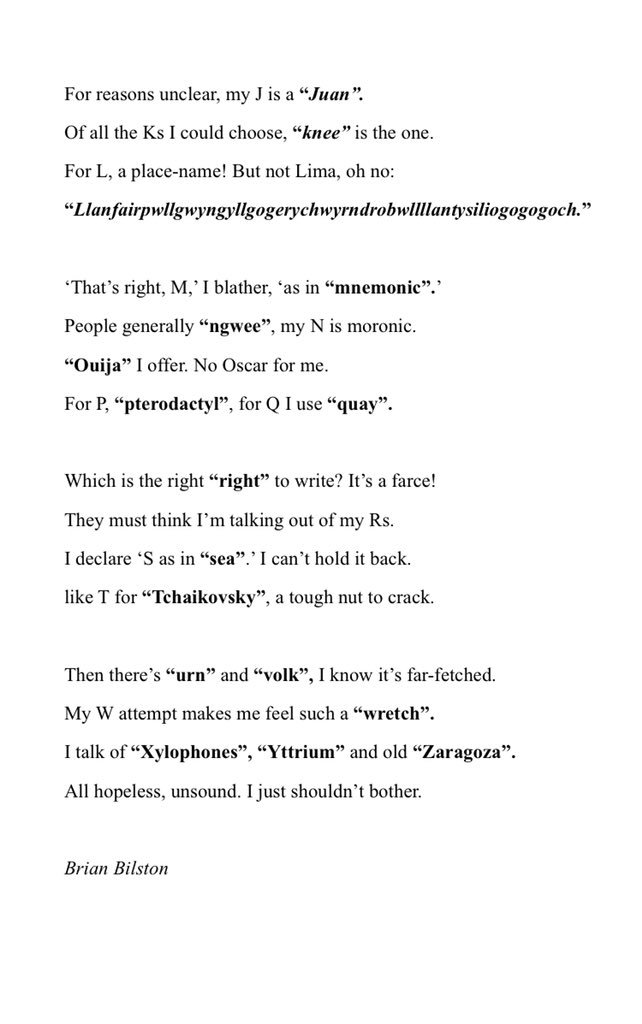 Brian Bilston On Twitter Whenever I M Asked To Spell Words Over The Phone All Knowledge I Have Of The Phonetic Alphabet Empties Completely From My Brain Instead I Seem To Conjure Up
