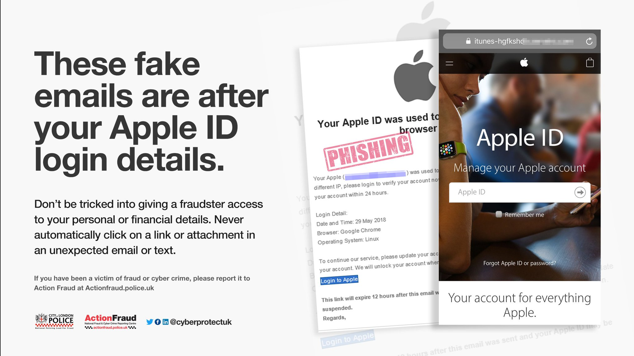 Action Fraud On Twitter We Ve Seen A Spike In Reports About These Phishing Emails After Your Apple Id Be Scamaware And Don T Click The Link Https T Co 6k2n3i6eqh