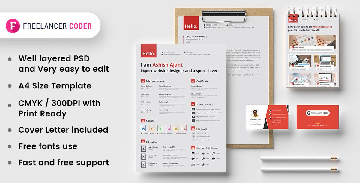 ashish ajani on twitter free modern resume template psd