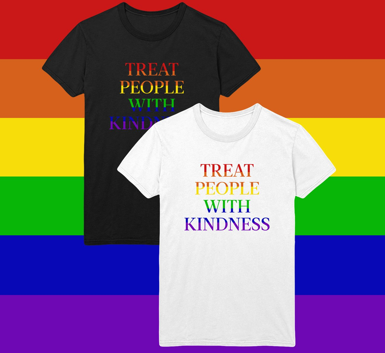 """HSHQ on Twitter: """"In celebration of Pride, two special Treat People With  Kindness T-Shirts have been added to the online store for the month of  June. All proceeds will go to support @"""