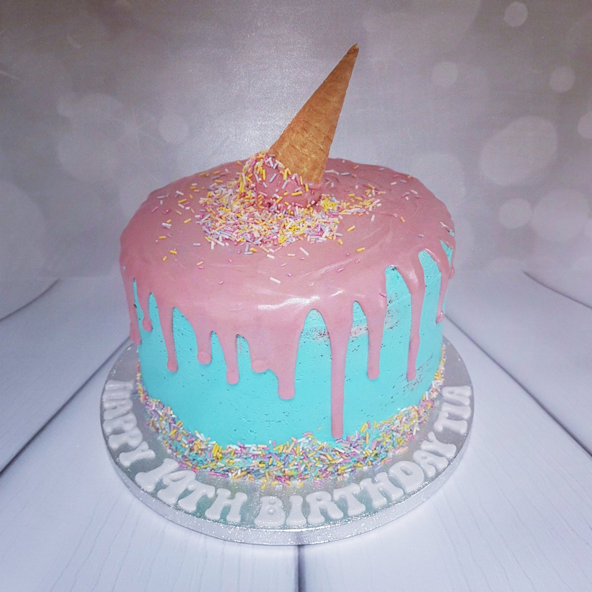 Magnificent Littlemissalicecakes On Twitter Ice Cream Drip Cake For Tias Personalised Birthday Cards Arneslily Jamesorg