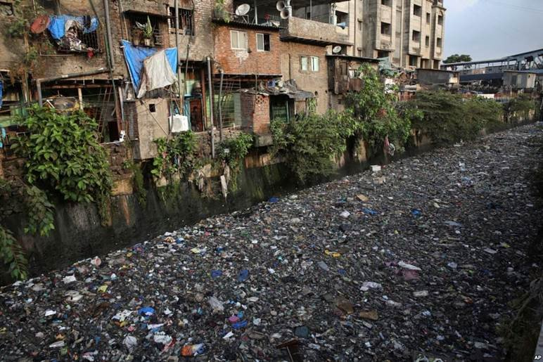 A canal in Mumbai.    A river in Dhaka.    #WorldEnvironmentDay