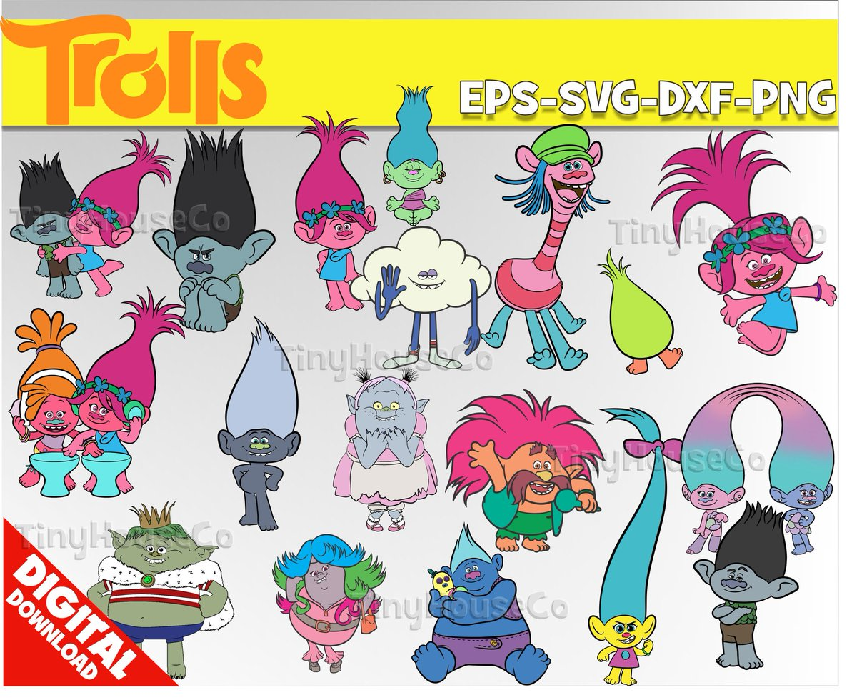 Trolls clipart trolls party trolls birthday vector printable poppy digital  clipart clip art supplies kidscrafts jpg