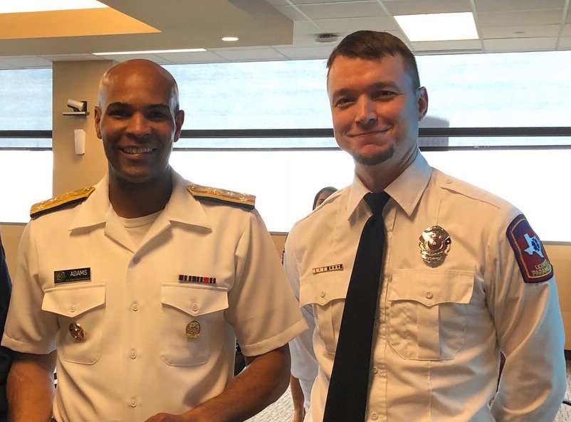 Daniel Sledge, MOT paramedic, was invited to speak w/Asst. Sec. for Health, Admiral Giroir, & US Surgeon General, Vice Admiral Adams,  about opioid overdoses & MOT's collaboration w/ @roundrock    Fire Dept. to make Narcan more available as antidote for opioid overdoses.