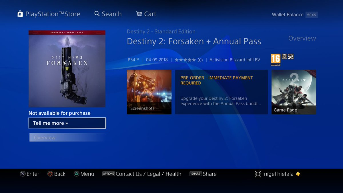 4802e119d13 Destiny 2 Forsaken is on the PS Store. No price. Looks like 4th of  Septemberpic.twitter.com SrcQQbvvBC