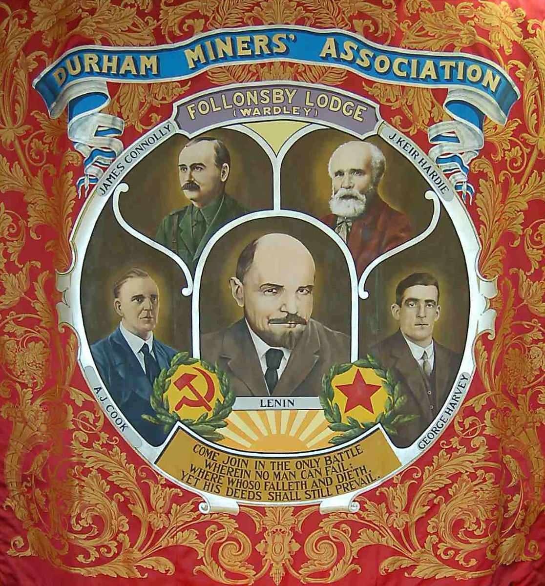150 years ago today, Irish revolutionary James Connolly was born. In the 1920s he was honoured by the miners of Follonsby who included his portrait on their banner.