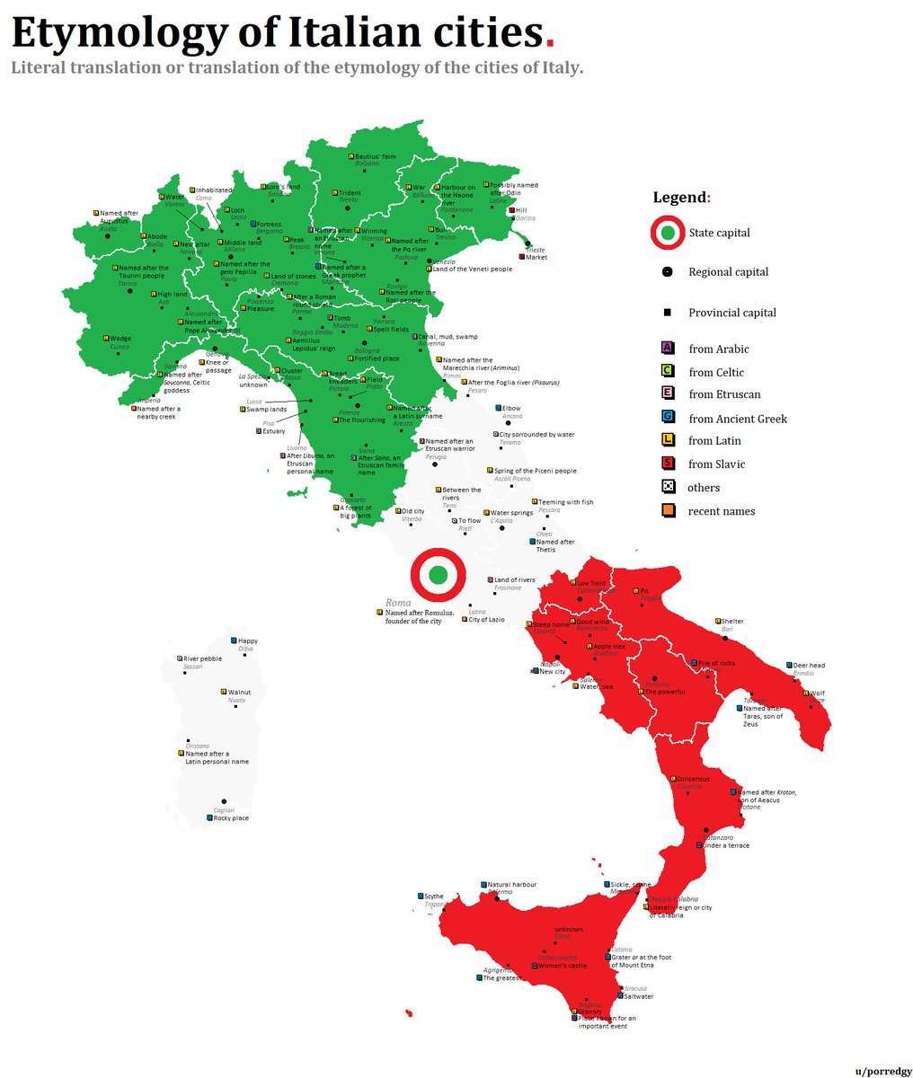 Map Of Italy In English With Cities.Simon Kuestenmacher On Twitter I Love A Good Etymology Map The