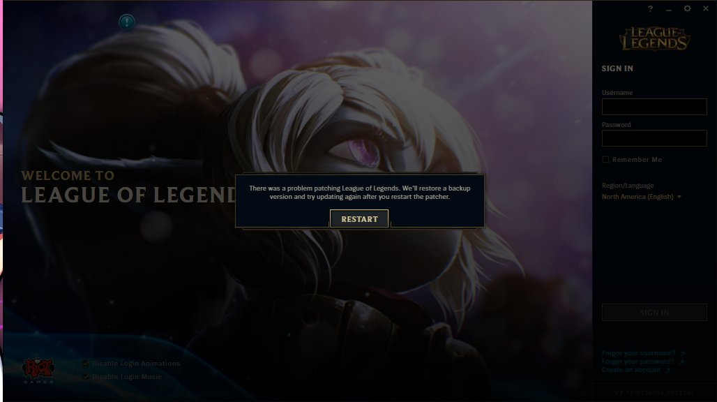 there was a problem patching league of legends