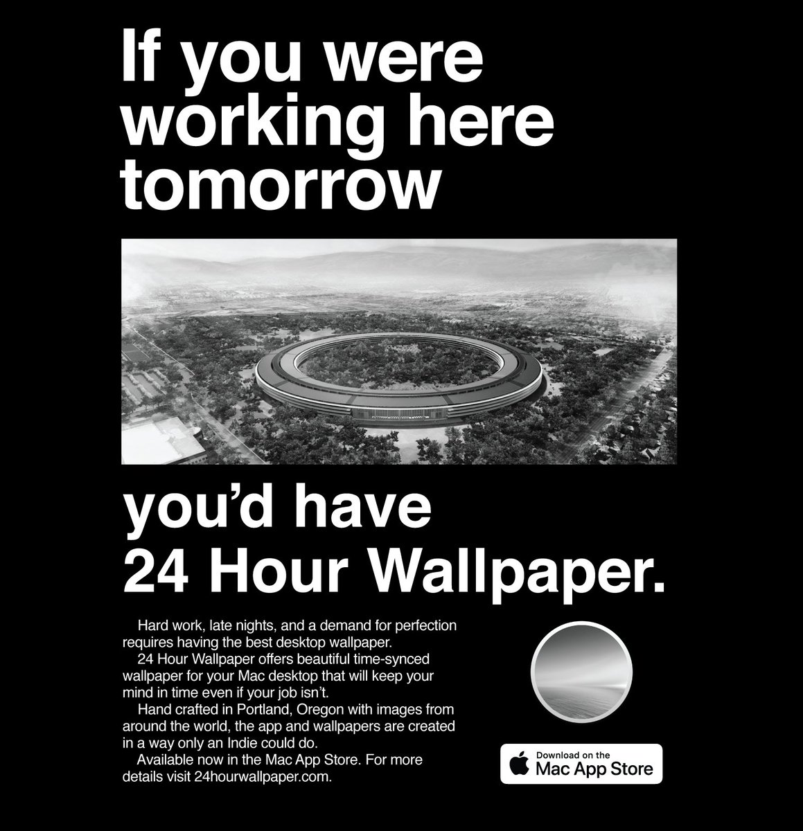 If you like the idea of your desktop matching the time of day, check out 24 Hour Wallpaper, available now in the Mac App Store. http://24hourwallpaper.com . ...