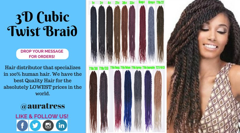 😍3D Cubic TWIST BRAIDS😍😍  Express your self more with our Hair Braids.  Only here @Auratress -Hair Expert-  #auratress #hairexpert #3DCubic #twistbraids #twinetwist #braids #colorfulhair #hairbraids #synthetichair #hairstyles #wigs #laces #extensions #frontallace