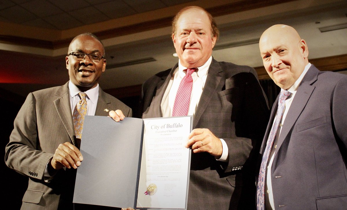 I proclaimed today Chris Berman Day in the City of Buffalo during the BFLO Hall of Fame Experience Luncheon at Adams Mark. Chris Berman, an icon in sports broadcasting through his long career at @espn, has always been a strong supporter of the @buffalobills & the City of Buffalo.