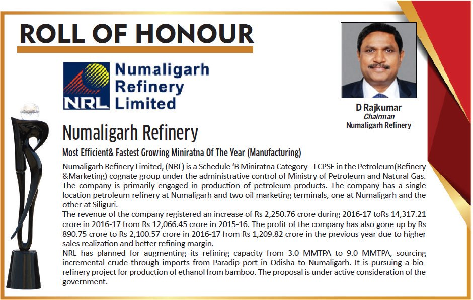 @DSIJ Presents India&#39;s Best #PSUAwards2017. Mr. D. Rajkumar Chairman; @NRL_MoPNG has been Awarded for Most Efficient&amp; Fastest Growing Miniratna Of The Year (Manufacturing).<br>http://pic.twitter.com/p8hXMpI9jp