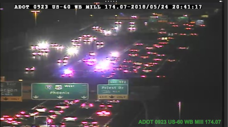 ** UPDATE ** US 60 WB near Mill: Four lanes now open after crash. HOV and left lane remain closed. #PhxTraffic
