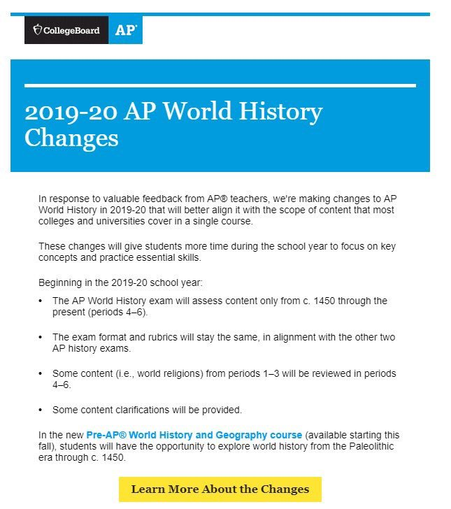 College Board tries to cut out half of the AP World History