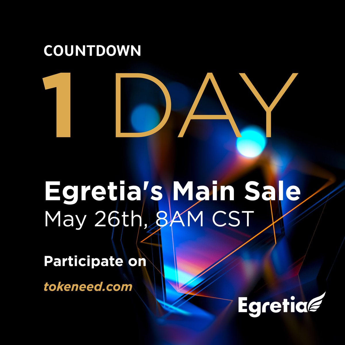 Egretia's main sale is opening on May 26th at 8AM CST. Only 1 day left! Let's countdown together! #egretia #blockchain #EGT #countdown #1day<br>http://pic.twitter.com/B8dYukrjdV