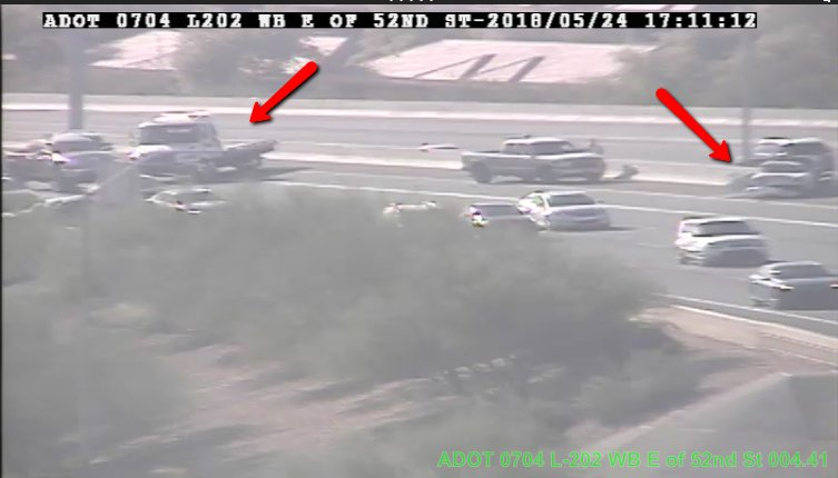 L-202 EB near 52nd St: The left and HOV lanes are blocked by a crash.