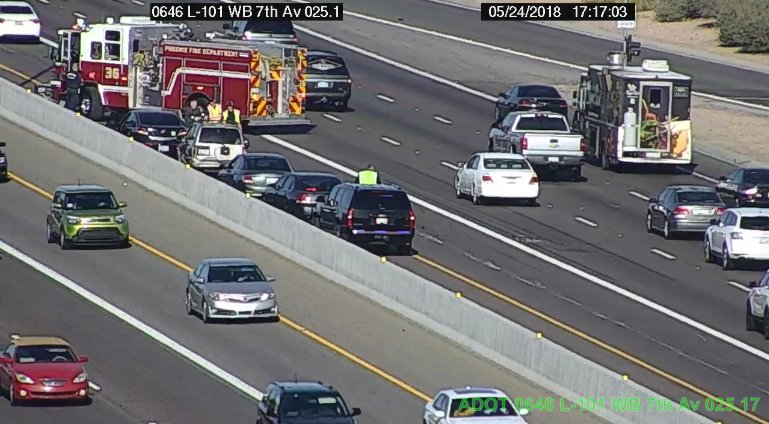 L-101 EB at 7th Ave: The HOV and left lane are blocked for a crash.