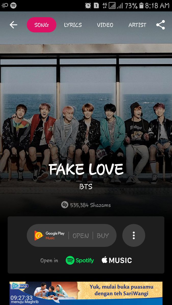 If i give some time interval between shazam and clear data...its shown correct number  #ShazamFakeLove @BTS_twt<br>http://pic.twitter.com/1kjkWWgnzL