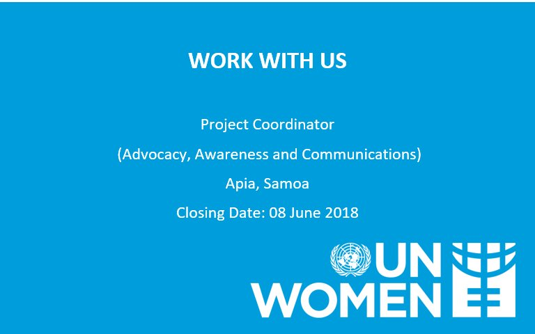 Want to join our @unwomenpacific team? We have re-advertised the position of Project Coordinator (Advocacy, Awareness &amp; #Communications) for the #WomeninLeadership in #Samoa (WILS) Project. Position is open to Samoan Nationals only. Apply here:  http:// ow.ly/aUYY30kaHlc  &nbsp;  <br>http://pic.twitter.com/J02hOiyFwU
