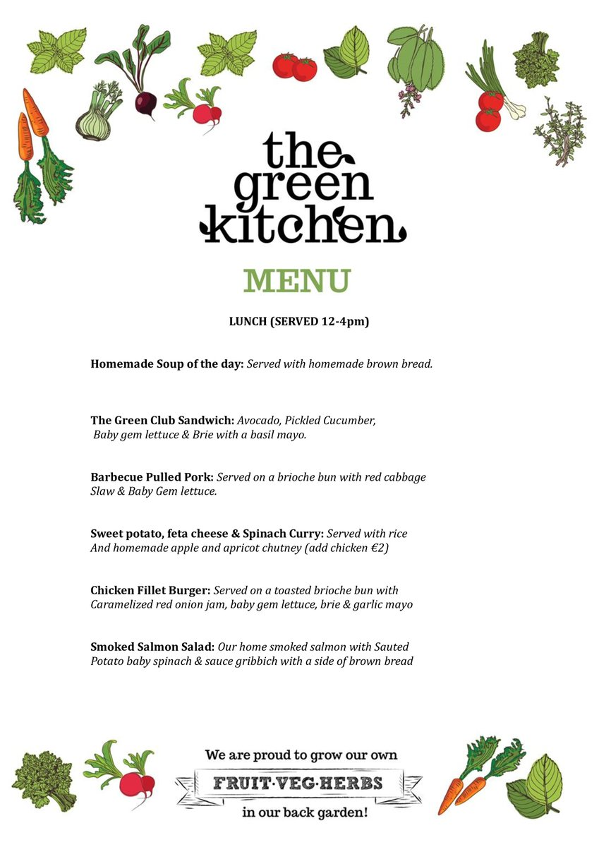 The Green Kitchen Garden Shop En Twitter We Re Happy To Share Our New Green Kitchen Cafe Menu With You Today Colm Will Be Introducing His New Fare In Walkinstown Next Monday