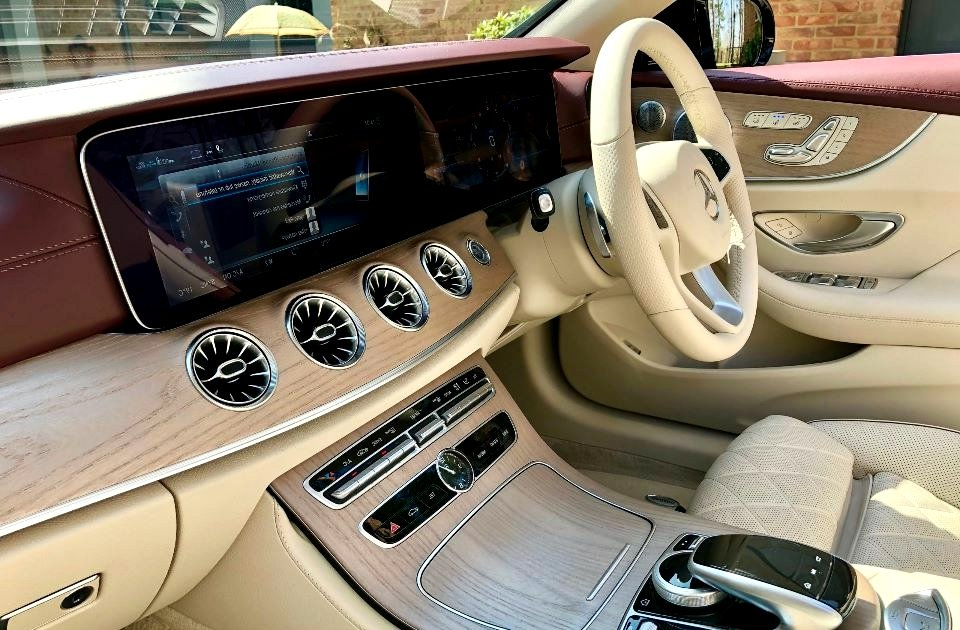 Meet Rozay. She is the latest @MercedesBenz E-Class cabriolet. Dressed in deep maroon with ventilated #Designo seats with contrast stitching, wooden trimmings, dashboard and upper door panels covered with leather that matches the exterior paint. She is one fine lady . <br>http://pic.twitter.com/dqCVDATNLP