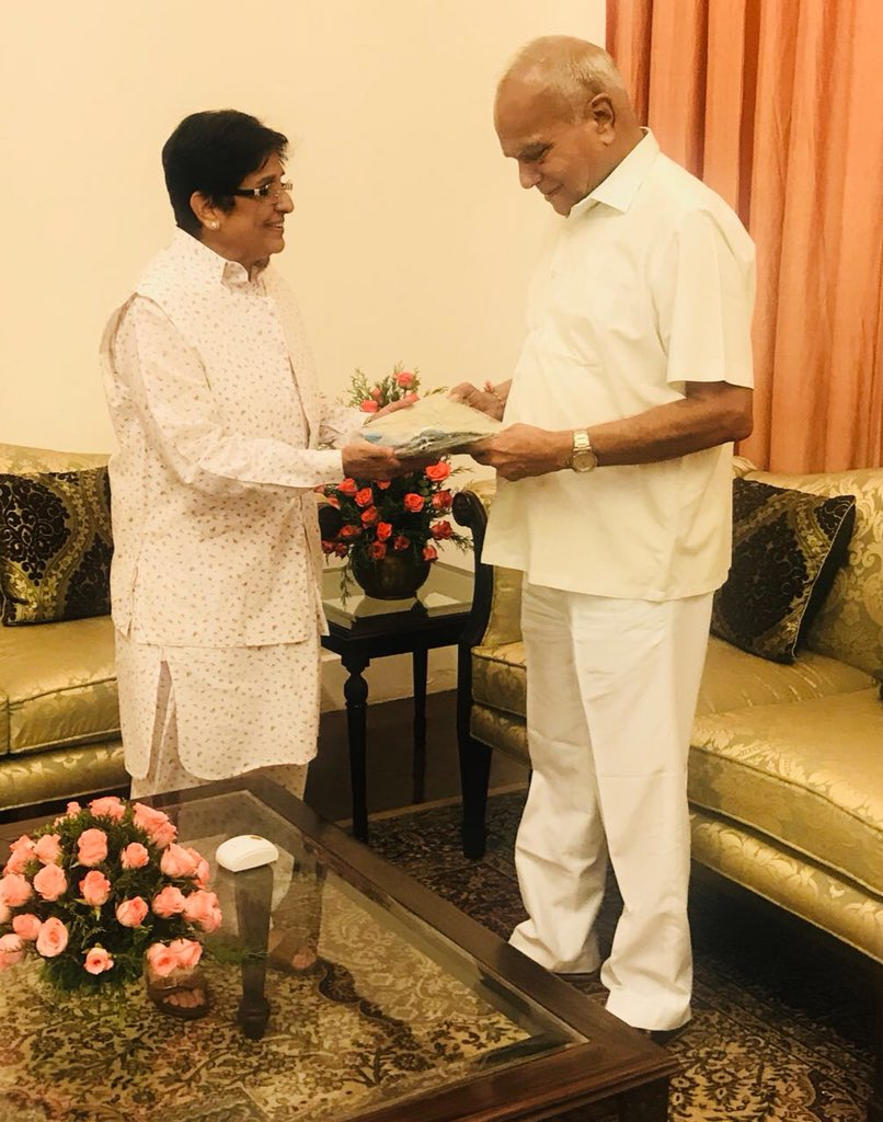 With Honble Governor of Tamil Nadu. Invited him to visit Puducherry and address officers on regional challenges in the areas of security, environment and required skills for enhanced employment generation. He has kindly accepted the same.