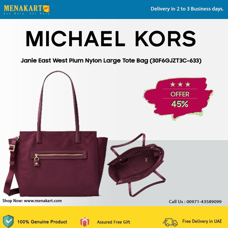 58449c07ca8351 Shop for Michael Kors Janie East West Plum Nylon Large Tote Bag Online at  http://Menakart.com Buy Now: https://goo.gl/HNcUFq #Michaelkors #Totebags # Bags ...