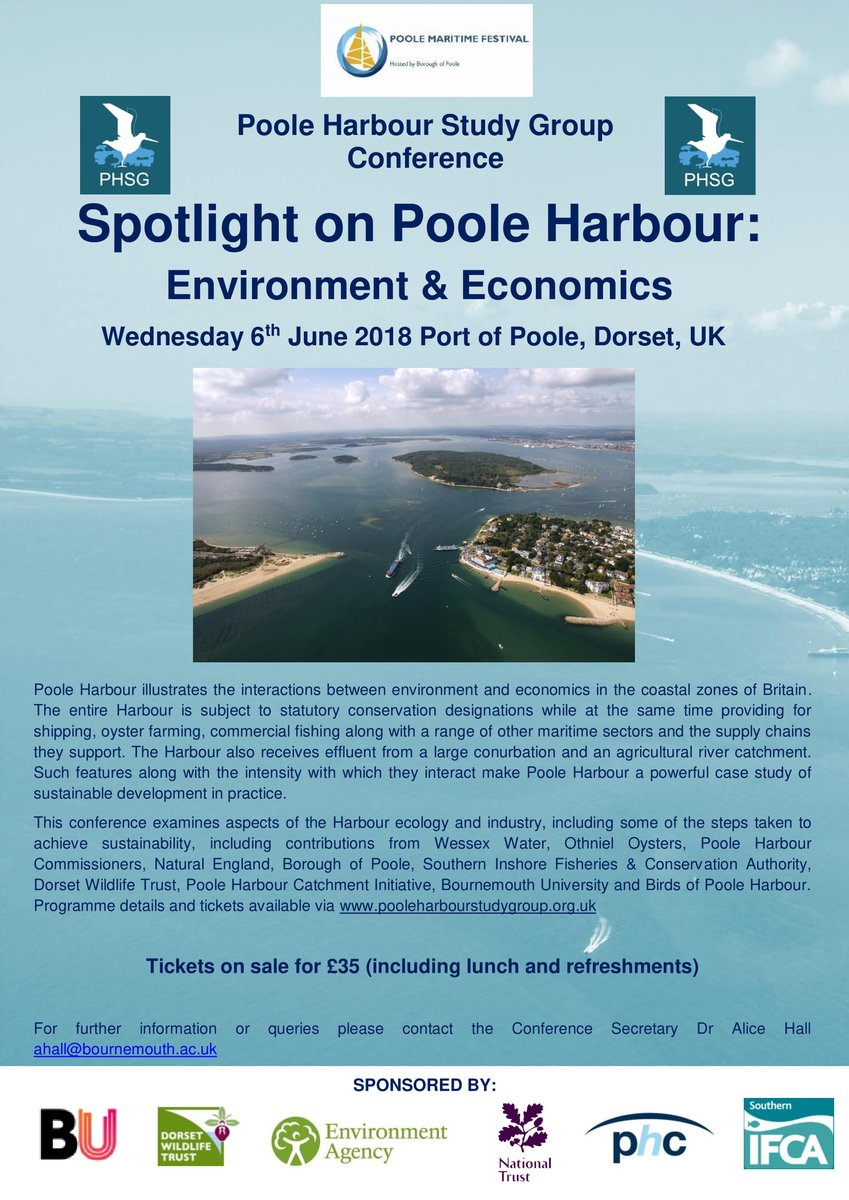 FINAL DAY to purchase your £35 ticket for the @PHSG2018 Conference on #PooleHarbour on 6th June 2018! Come hear about #Harbour #Ecology, #Economics, #Conservation, #Fisheries &amp; much more! Book tickets now  https://www. eventbrite.co.uk/e/spotlight-on -poole-harbour-environment-economics-tickets-44152779151 &nbsp; … <br>http://pic.twitter.com/yQltk0fQPn