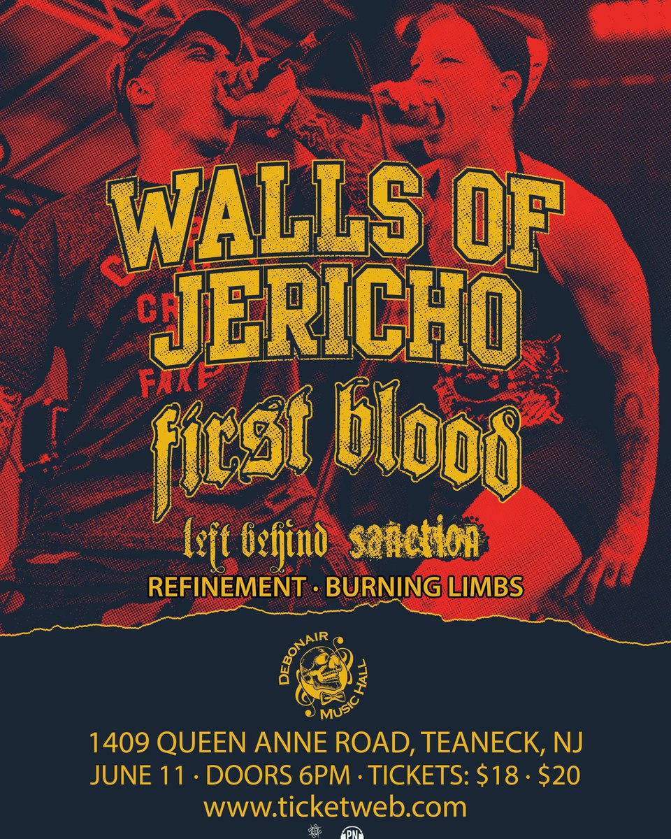 Walls Of Jericho On Twitter New Jersey Venue Change See De S Below All Tickets Purchased From Our Clifton Show Will Be Honored At This Show