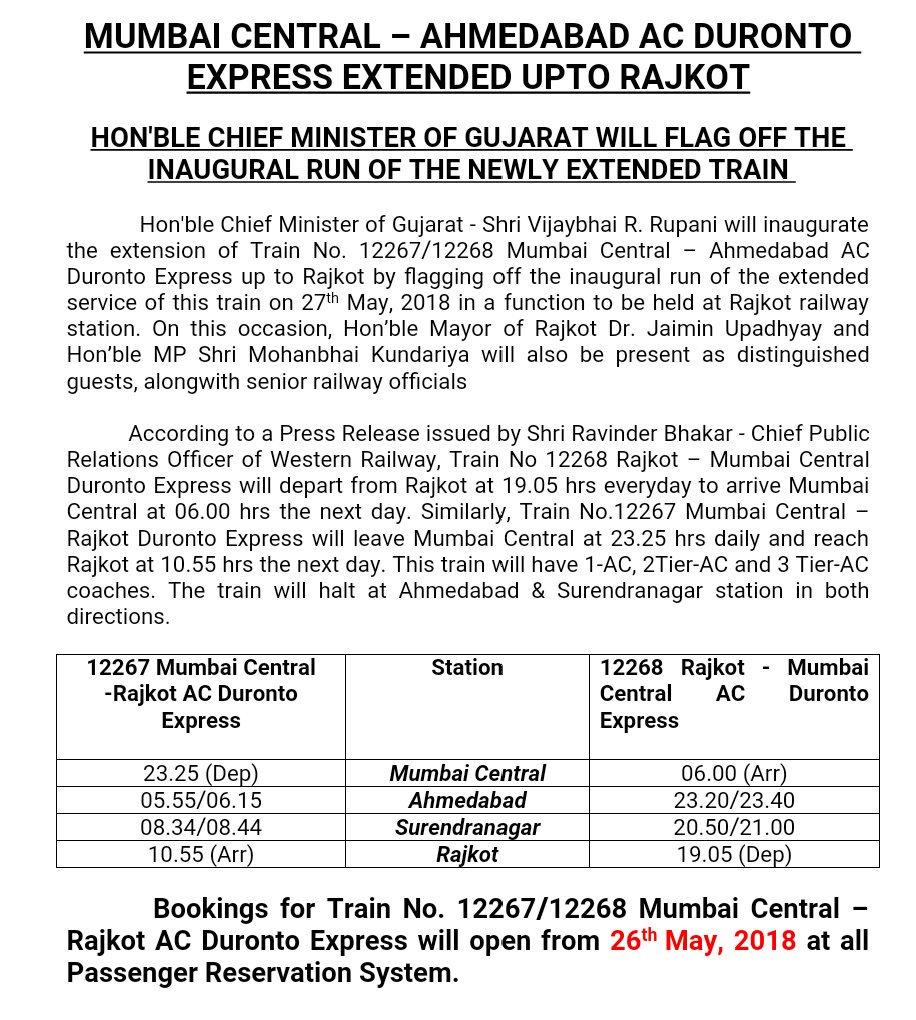 Ahmedabad – Mumbai Duronto Express to be extended to Surendranagar and Rajkot from 27th May