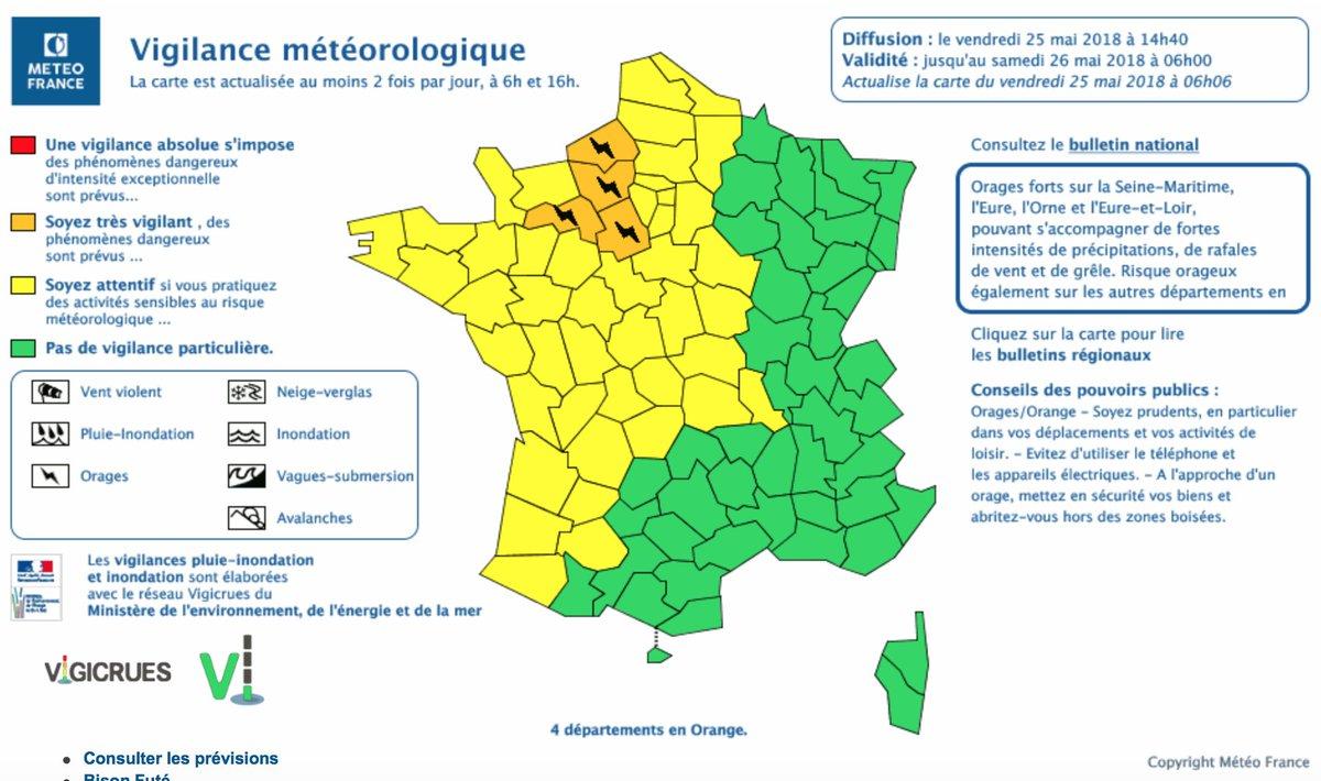 ⚠️🌩️ 4 départements sont placés en #vigilanceorange #orages à partir de 16h. Limitez vos déplacements et mettez-vous à l'abri ⬇️