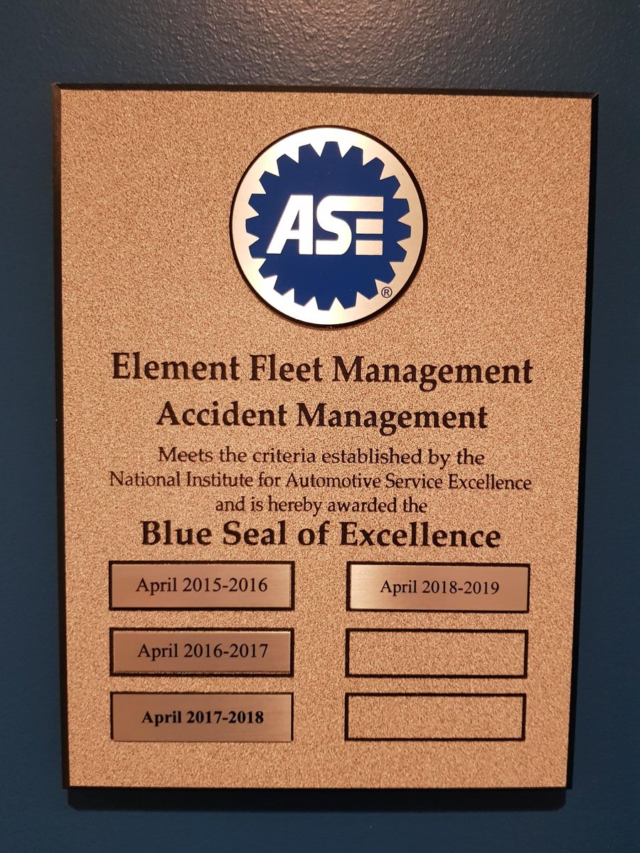 Element Fleet On Twitter Our Team Achieved Ase Blue Seal Status