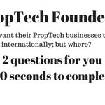 Two question in 20 seconds for any #PropTech Founder - help us understand the flow of #PropTech businesses - https://t.co/H4Rhc6iX9E - results shared this Sunday
