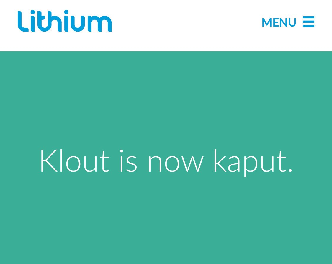 Klout is now kaput