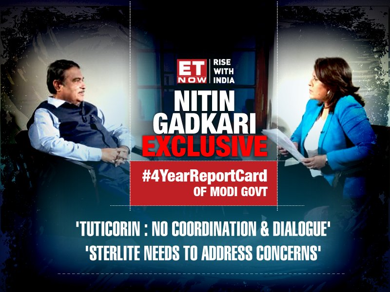 Coming up at 6:00 pm | #Exclusive interview with Mr Doer of Narendra Modi cabinet. @SupriyaShrinate asks the Road, Trasport and Highways Minister the cause behind the #TuticorinTurmoil.  Catch this interview for the #4YearReportCard of Modi Govt.  #4YearsOfModi