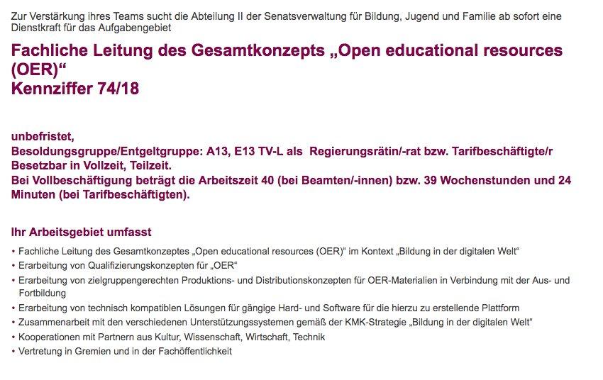 Nils Weichert On Twitter Stellenangebot Fachliche Leitung Oer